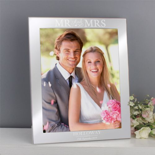 Personalised Mr & Mrs Silver 10x8 Photo Frame